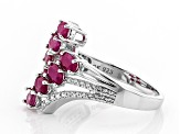 Red ruby rhodium over silver ring 1.95ctw