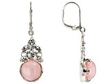 Pink Peruvian opal rhodium over silver dangle earrings