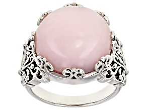 Pink Peruvian opal rhodium over silver ring