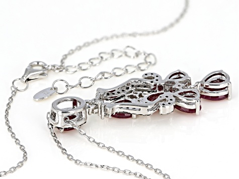 Red ruby rhodium over silver pendant with chain 3.05ctw