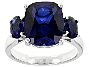 Blue lab created sapphire rhodium over silver ring 6.55ctw
