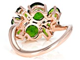 Green chrome Diopside 18k rose gold over silver ring 3.29ctw