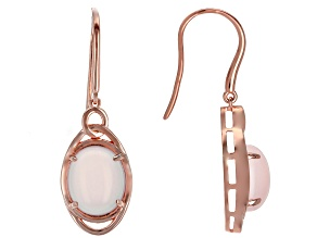 Pink rose quartz 18k rose gold over silver earrings