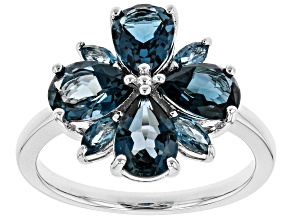 Blue topaz rhodum over silver ring 2.99ctw