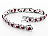 Red ruby rhodium over silver bracelet 10.32ctw