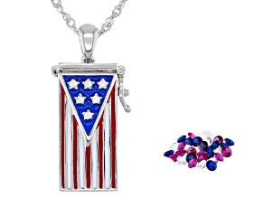 White Lab Created Sapphire Rhodium Over Silver Flag