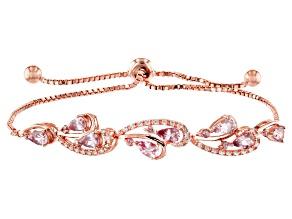 Pink color shift garnet 18k rose gold over sterling silver bracelet 2.26ctw