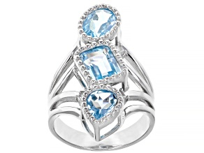 Sky blue topaz rhodium over silver ring 4.40ctw