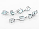 Sky Blue topaz rhodium over silver earrings 10.46ctw