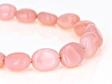 Pink Opal Rhodium Over Sterling Silver Bracelet