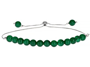 Green Onyx Rhodium Over Sterling Silver Bolo Bracelet