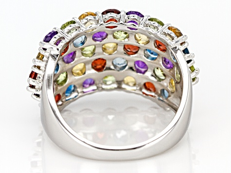 Multi-gemstone rhodium over silver band ring 4.65ctw
