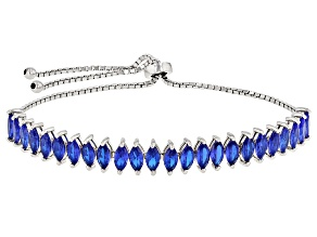 Blue Lab Created Spinel Rhodium Over Sterling Silver Bolo Bracelet 5.04ctw