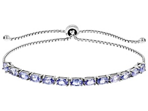 Blue Tanzanite Rhodium Over Sterling Silver Bracelet 2.86ctw