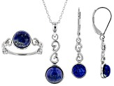 Blue Lapis Lazuli Rhodium Over Sterling Silver Jewelry Set