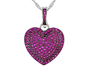 Red Lab Created Ruby Rhodium Over Sterling Silver Enhancer with Chain 3.10ctw