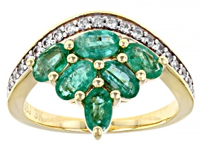 Green Zambian Emerald 18k Yellow Gold Over 3k Gold Ring 3.27ctw
