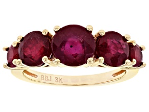Red Mahaleo® Ruby 3k Gold Ring 4.19ctw