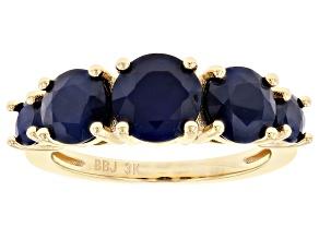 Blue Sapphire 3k Gold Ring 3.37ctw