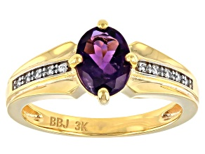 Purple Amethyst 3k Gold Ring 1.07ctw
