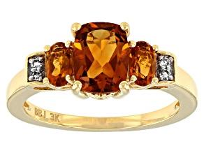 Orange Madeira Citrine 3k Gold Ring 1.52ctw