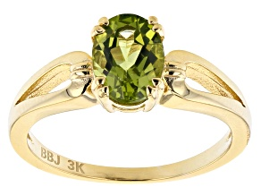 Green Peridot 18k Yellow Gold Over 3k Gold Solitaire Ring 0.95ctw