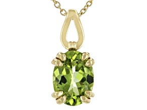 Green Peridot 3k Gold Solitaire Pendant With Chain 1.07ctw