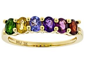 Multi Gemstone 3k Gold Ring 0.98ctw