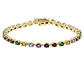 Multi Gemstone 18k Yellow Gold Over 3k Gold Tennis Bracelet 5.42ctw