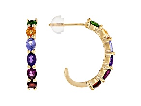 Multi Gemstone 3k Gold Earrings 2.04ctw