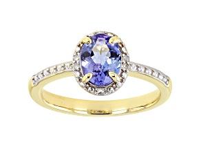 Blue Tanzaniter 3k Yellow Gold Ring 1.02ctw