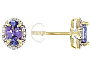 Blue Tanzanite 18k Yellow Gold Over 3k Gold Stud Earrings 1.36ctw