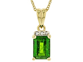 Green Chrome Diopside 3k Gold Pendant With Chain 0.86ctw