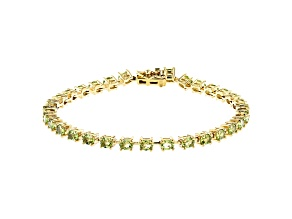 Green Peridot 3k Tennis Bracelet 4.92ctw