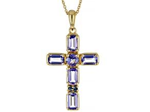 Blue Tanzanite 3k Gold Cross Pendant With Chain 1.46ctw