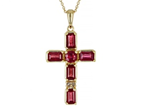Red Mahaleo® Ruby 3k Gold Cross Pendant With Chain 2.31ctw