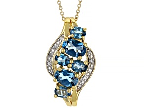 London Blue Topaz 3k Yellow Gold Pendant With Chain 1.82ctw