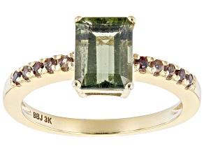 Green Octagonal Moldavite 3K Yellow Gold Ring 1.25ctw