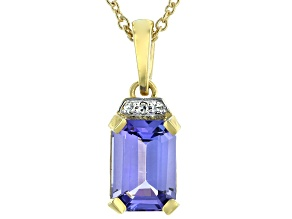 Blue Tanzanite 3k Yellow Gold Pendant With Chain 0.83ctw
