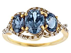 Blue Lab Created Alexandrite 3k Yellow Gold Ring 2.14ctw