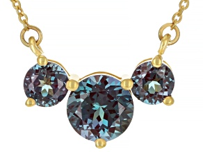 Blue Lab Created Alexandrite 3k Yellow Gold Necklace 1.45ctw