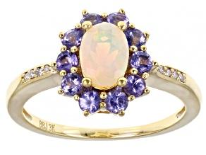 Multi-Color Ethiopian Opal 3k Yellow Gold Ring 1.06ctw