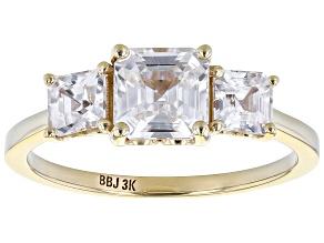 White Zircon 3k Yellow Gold 3-Stone Ring 2.22ctw