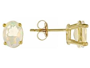 Multi-Color Ethiopian Opal 3k Gold Stud Earrings 1.19ctw