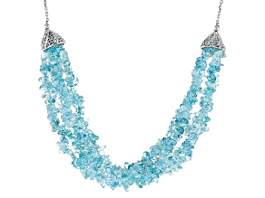 Blue Topaz Sterling Silver Necklace 163.50ctw