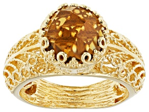 Brown Cognac Quartz 18k Yellow Gold Over Sterling Silver Ring 2.35ct