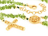 Green Peridot 18k Yellow Gold Over Sterling Silver Necklace 84.25ctw