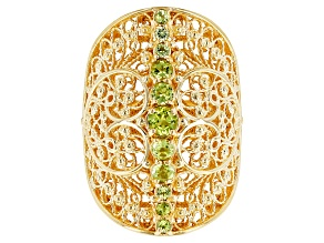 Green Peridot 18k Yellow Gold Over Sterling Silver Ring 2.00ctw