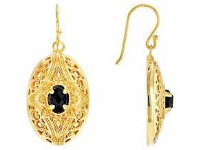 Black Spinel 18k Yellow Gold Over Sterling Silver Earrings 2.00ctw