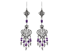 Purple Amethyst Sterling Silver Earrings 3.60ctw